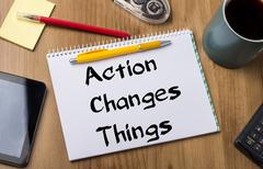 Action Changes Things ACT - Note Pad With Text Stock Photos