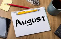August - Note Pad With Text Stock Photos