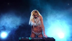 Luxury woman DJ in white underwear standing for mixing console Stock Footage