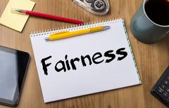 Fairness - Note Pad With Text Stock Photos
