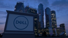 Street signage board with Dell Inc. logo in the evening.  Blurred busines Stock Footage
