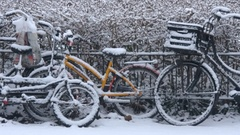 Parked bikes in a snow storm Stock Footage
