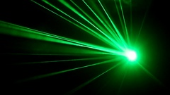 Laser lights on the dance floor in a nightclub. strobe light shines rays Stock Footage