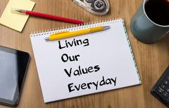 Living Our Values Everyday LOVE - Note Pad With Text Stock Photos