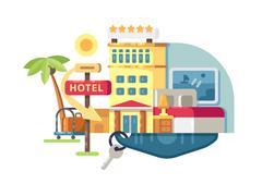 Hotel building five stars Stock Illustration