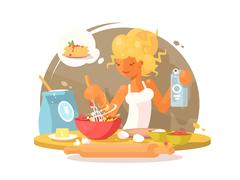 Young blonde woman prepares meal Stock Illustration