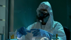 Examination of new dangerous virus strain. Global work to reduce epidemy Stock Footage