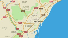 Barcelona Map Animation 4K Stock Footage