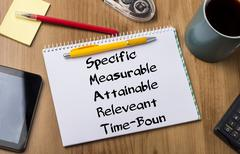 Specific Measurable Attainable Releveant Time-Bound SMART - Note Pad With Tex Stock Photos
