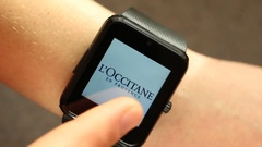 Using A Smart Watch Device. List of Top Cosmetic Makeup Lines Stock Footage