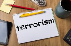 Terrorism - Note Pad With Text Stock Photos
