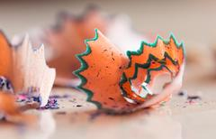 Debris from a pencil. macro Stock Photos