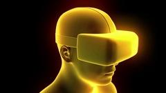 VR virtual reality headset hologram futuristic animation hmd game tech loop 4k Stock Footage