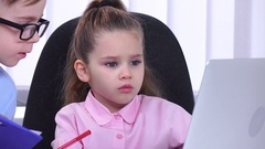 Girl businessman sitting in the office with his subordinates and communicate Stock Footage