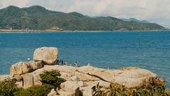 Hon Chong cape. Popular tourist destinations at Nha Trang. Vietnam Stock Footage