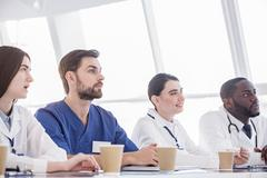 Attentive therapeutics hearing lecture during in clinic Stock Photos
