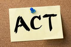 ACT - adhesive label pinned on bulletin board Stock Photos