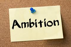 Ambition - adhesive label pinned on bulletin board Stock Photos