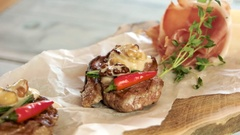 Meat medallions and sauce. Stock Footage