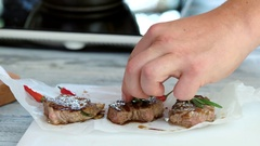 Meat medallions with herb. Stock Footage