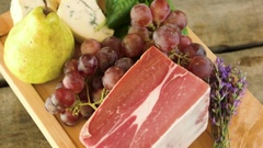 Wooden board with raw food. Stock Footage