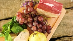 Wooden board and raw food. Stock Footage