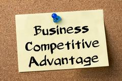 Business Competitive Advantage - adhesive label pinned on bulletin board Stock Photos