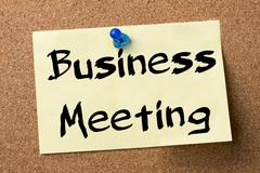 Business Meeting - adhesive label pinned on bulletin board Stock Photos