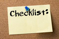 Checklist: - adhesive label pinned on bulletin board Stock Photos