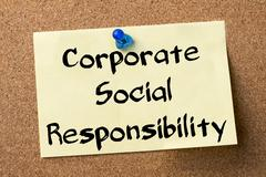 Corporate Social Responsibility CSR - adhesive label pinned on bulletin board Stock Photos
