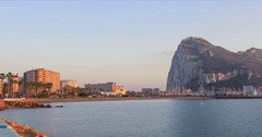 Panoramic view on Gibraltar rock from La Linea Stock Footage