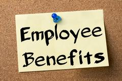Employee Benefits - adhesive label pinned on bulletin board Stock Photos