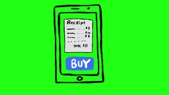 Receipt Payment on Smartphone Green Screen Scribble Animation Doodle Cartoon  Stock Footage
