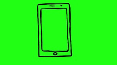 Smartphone on Green Screen Scribble Animation Doodle Cartoon 4K Stock Footage