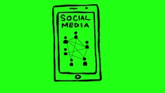 Social Media Icon on Smartphone Green Screen Scribble Animation Doodle Cartoo Stock Footage