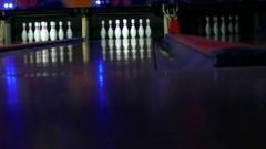 Tenpin bowling,  Bowling a strike Stock Footage