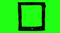 Tablet on Green Screen Scribble Animation Doodle Cartoon 4K Stock Footage