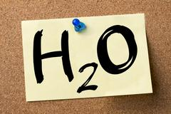H2O - water molecule - adhesive label pinned on bulletin board Stock Photos