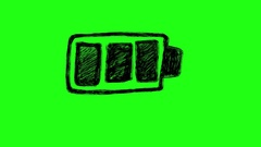 Battery Charging Scribble Doodle Animation Green Screen 4k Stock Footage