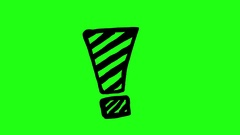 Exclamation Mark on Green Screen Scribble Animation Doodle Cartoon 4K Stock Footage