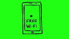 Free Wi Fi on Smartphone Green Screen Scribble Animation Doodle Cartoon 4K Stock Footage