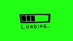 Loading Bar Green Screen Scribble Animation Doodle Cartoon 4K Stock Footage
