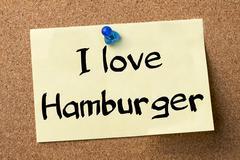 I love Hamburger - adhesive label pinned on bulletin board Stock Photos