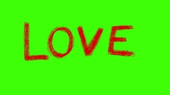 LOVE Red Word Green Screen Scribble Animation Doodle Cartoon 4K Stock Footage
