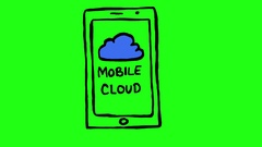 Mobile Cloud on Smartphone Green Screen Scribble Animation Doodle Cartoon 4K Stock Footage