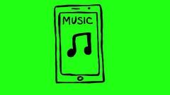 Music Icon on Smartphone Green Screen Scribble Animation Doodle Cartoon 4K Stock Footage