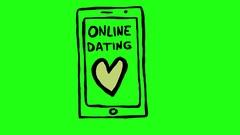 Online Dating Smartphone app Green Screen Scribble Animation Doodle Cartoon 4 Stock Footage