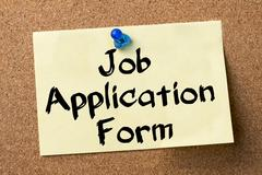 Job Application Form - adhesive label pinned on bulletin board Stock Photos