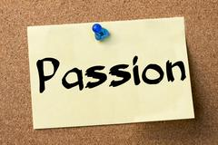 Passion - adhesive label pinned on bulletin board Stock Photos