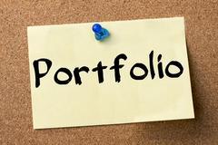 Portfolio - adhesive label pinned on bulletin board Kuvituskuvat